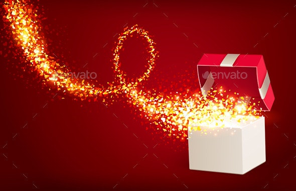 Open Gift Box with Magic Hearts - Valentines Seasons/Holidays