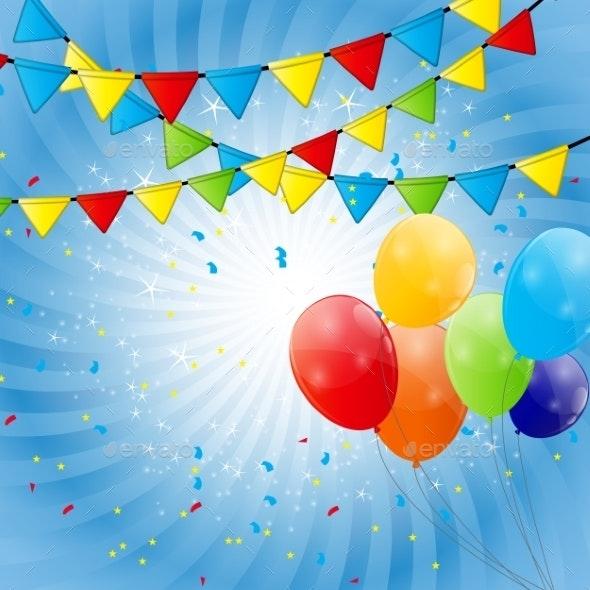 Color Glossy Balloons Background Vector Illustration - Birthdays Seasons/Holidays