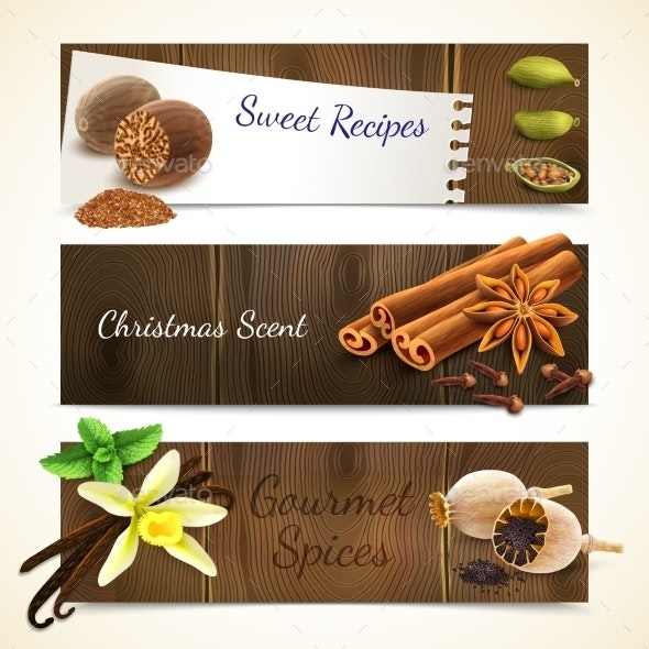 Spices Banners Horizontal - Borders Decorative