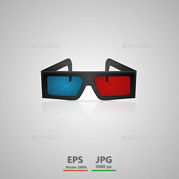 Vector Illustration of Black 3d Cinema Glasses
