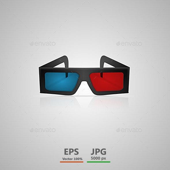 Vector Illustration of Black 3d Cinema Glasses - Media Technology