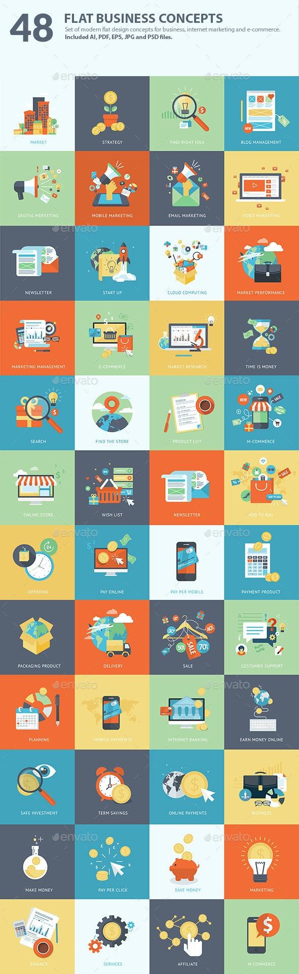 Set of Flat Design Business Concepts  - Business Conceptual