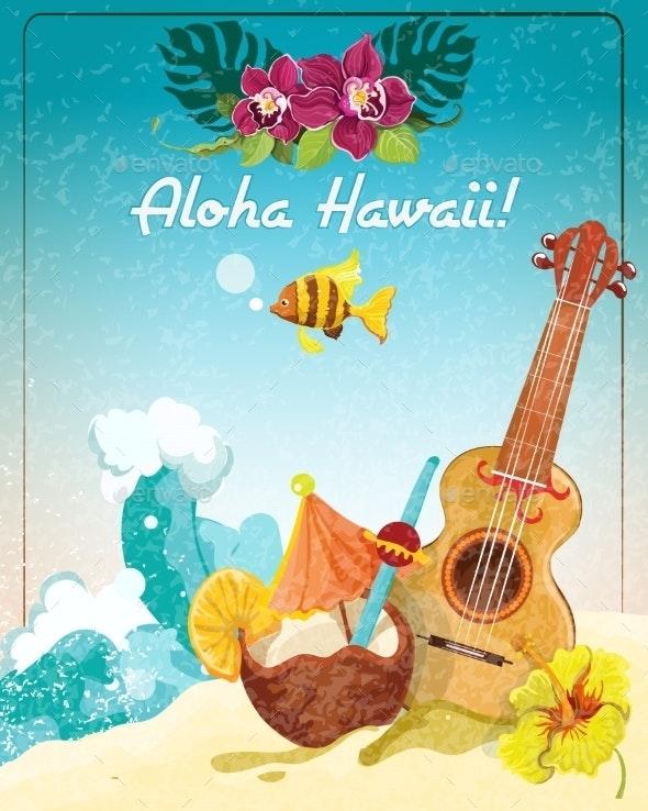 Hawaii Guitar Vacation Poster - Travel Conceptual