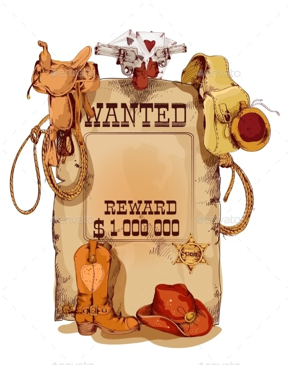 Wanted Western Vintage Poster - Borders Decorative