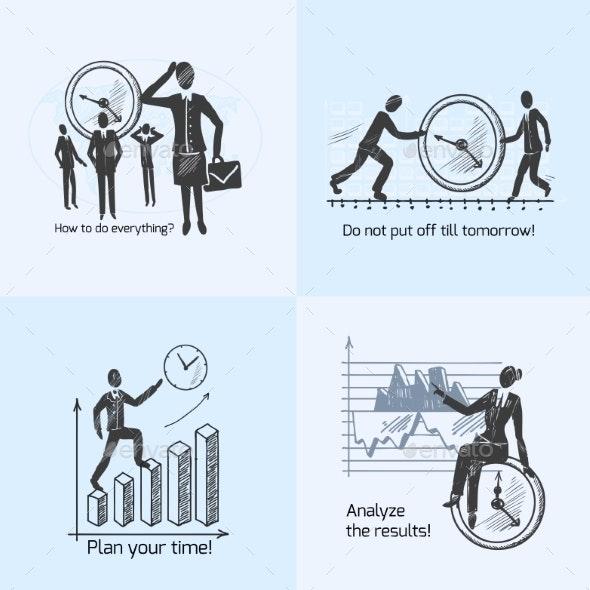 Time Management Composition Sketch - Concepts Business