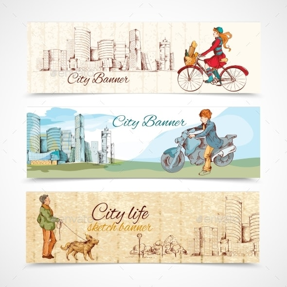 Urban People Horizontal Banners Sketch Colored - People Characters