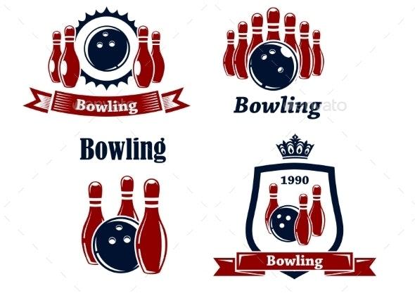 Sporting Bowling Emblems and Symbols - Sports/Activity Conceptual