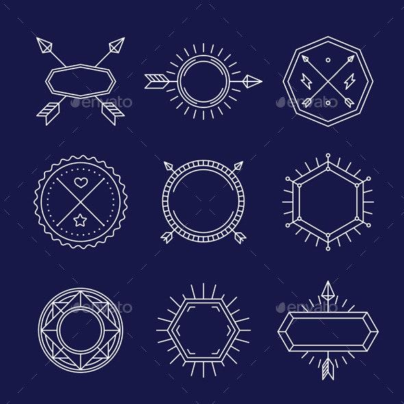 Vector Set of Outline Emblems and Badges - Decorative Vectors
