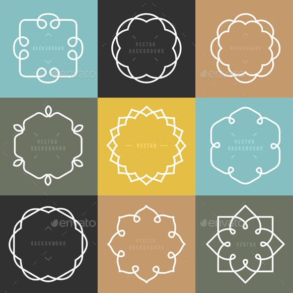 Vector Set of Outline Emblems and Badges - Decorative Vectors