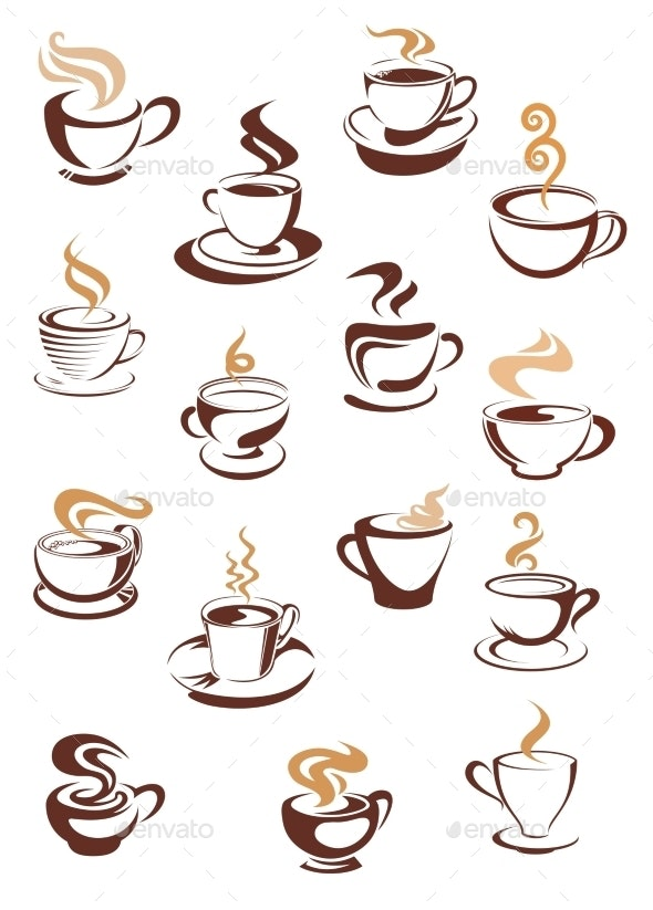 Steaming Coffee Cups Set - Food Objects
