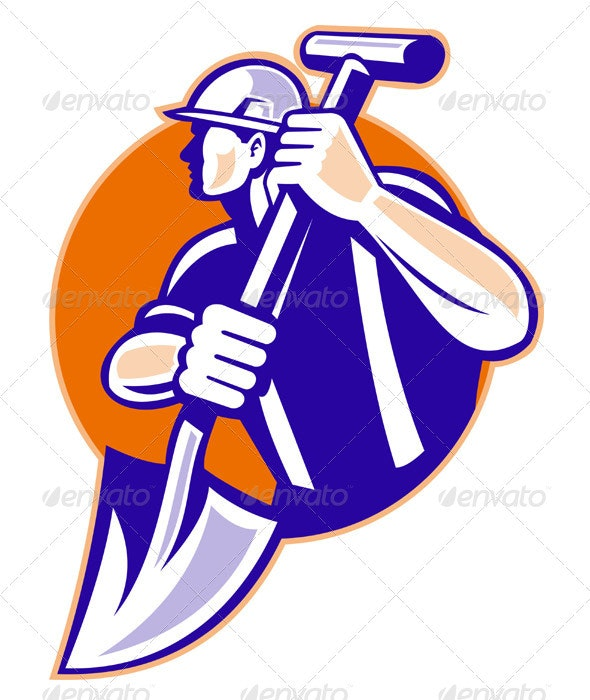 Construction Worker With Spade Retro Style - Industries Business