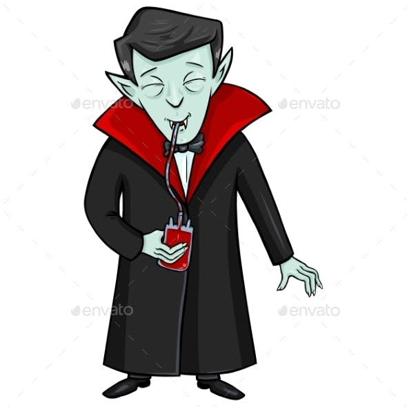 Halloween Character - Vampire Drinks Blood
