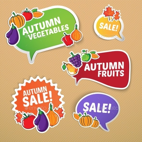 Autumn Stickers Set with Fruits and Vegetables - Backgrounds Decorative