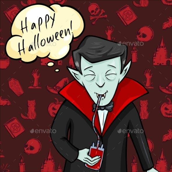 Halloween Postcard. Vampire with Bubble