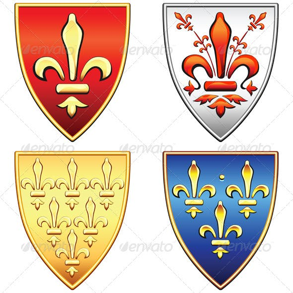 Vector French Shields with Arms of Fleur de Lis