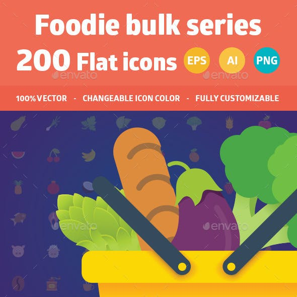200 Food Flat Colorful Icons