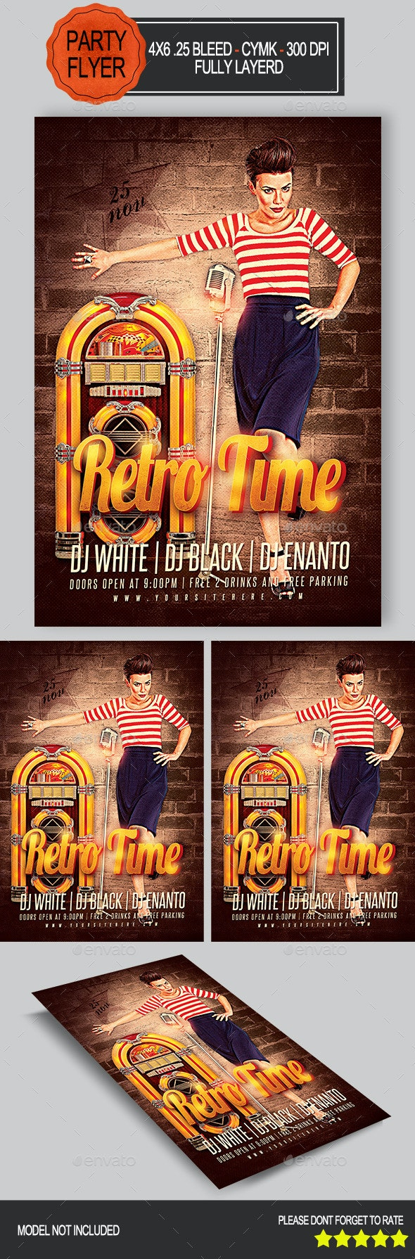 Retro Time Flyer   - Clubs & Parties Events
