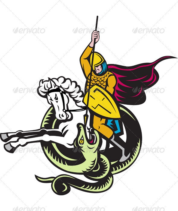 Knight Riding Horse Fighting Dragon Snake - People Characters