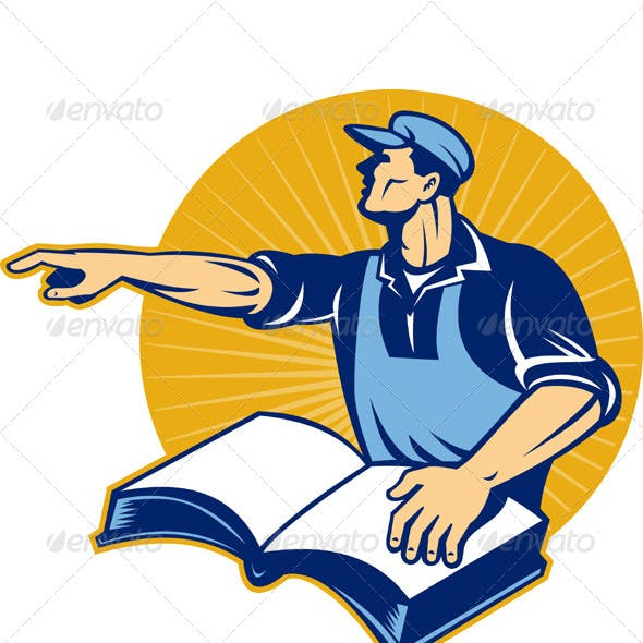 Worker With Book Pointing Finger