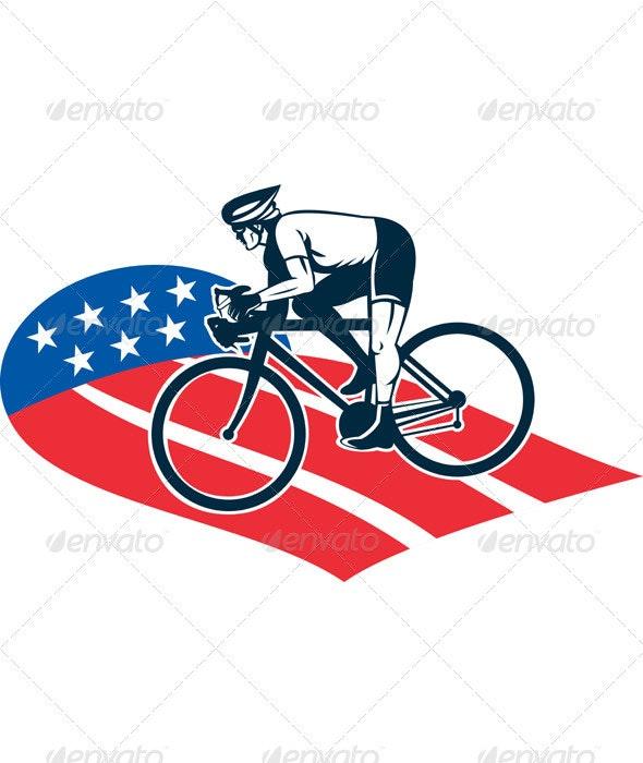 Cyclist Riding Racing Bike Retro Style - Sports/Activity Conceptual