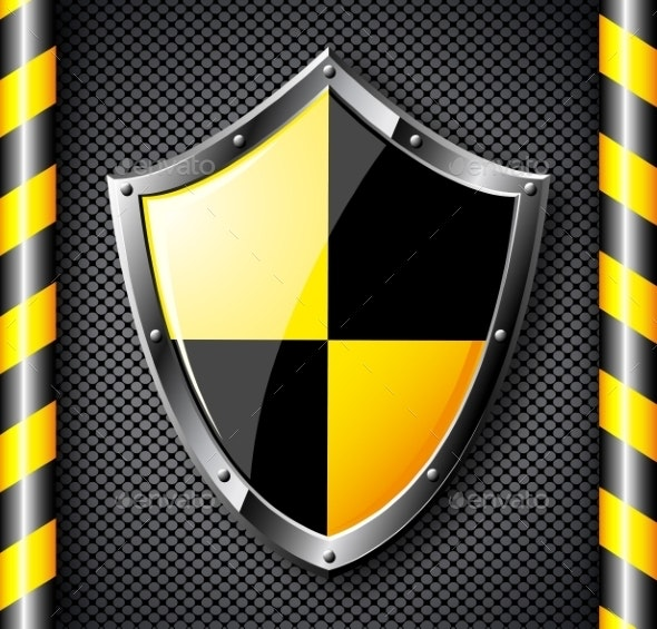 Steel Shield over Black Dotted Background. - Objects Vectors