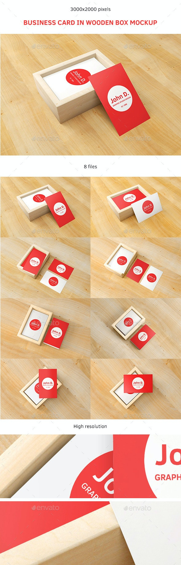Business Card in Wooden Box Mockup - Business Cards Print