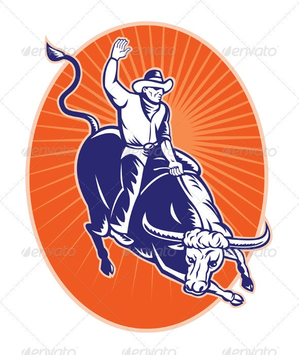 American Rodeo Cowboy Riding Bull - Sports/Activity Conceptual