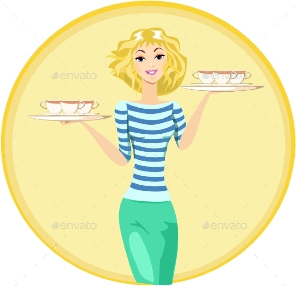 Girl Waitress Carrying a Tray with Cups  - People Characters