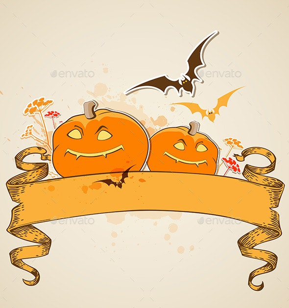 Pumpkins and Vintage Banner - Halloween Seasons/Holidays