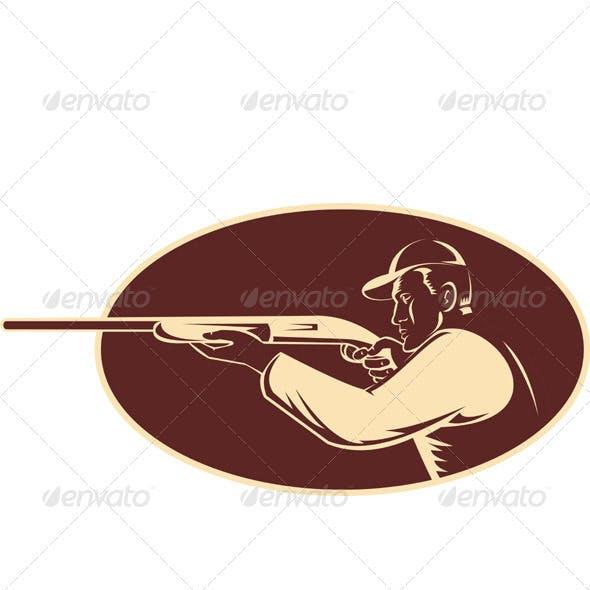 Hunter Rifle Aiming Shotgun Side Woodcut