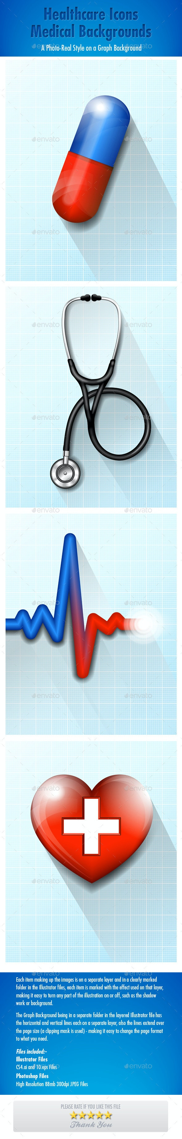 Healthcare Icons Medical Backgrounds - Health/Medicine Conceptual