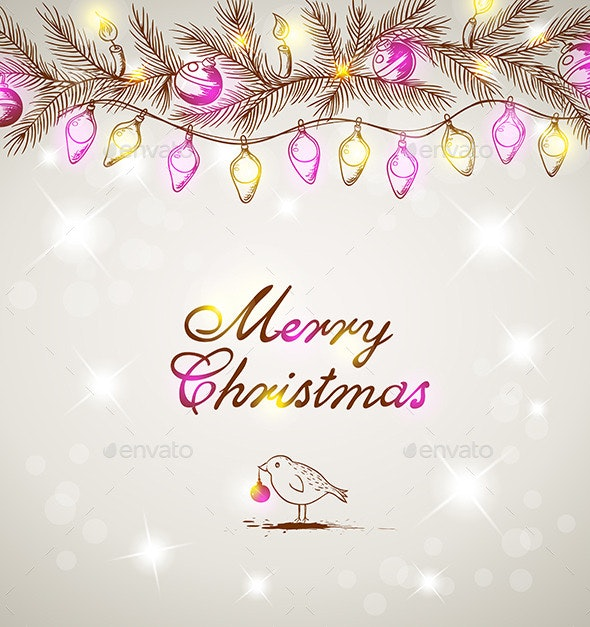 Christmas Background with Bird and Decorations - Christmas Seasons/Holidays