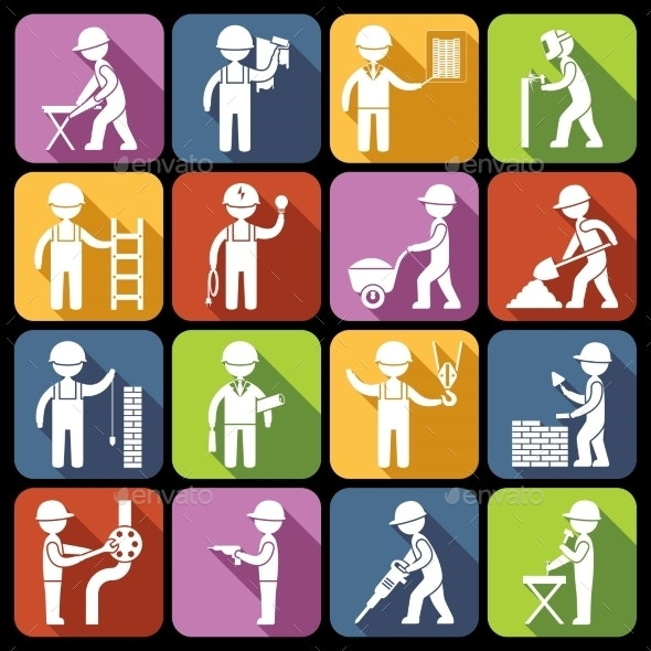 Construction Worker Icons  - Industries Business