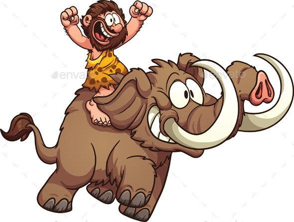 Caveman Riding a Mammoth - Characters Vectors