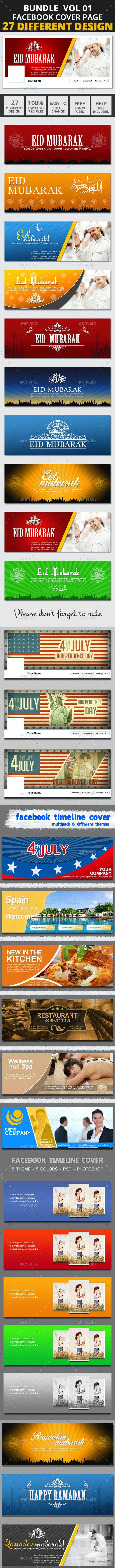 Facebook Bundle Vol01 - Facebook Timeline Covers Social Media