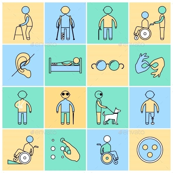 Disabled Icons Set Flat Line