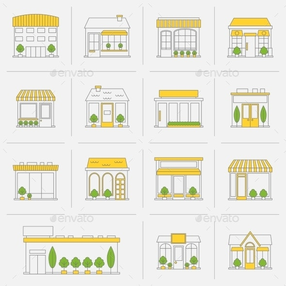 Store Building Icons Set Flat Line - Buildings Objects