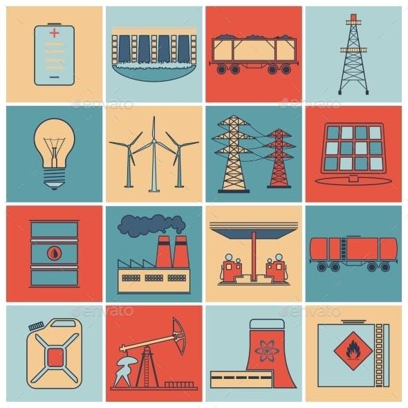 Energy Icons Flat Line Set