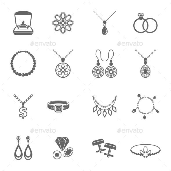 Jewelry Icon Black - Web Elements Vectors