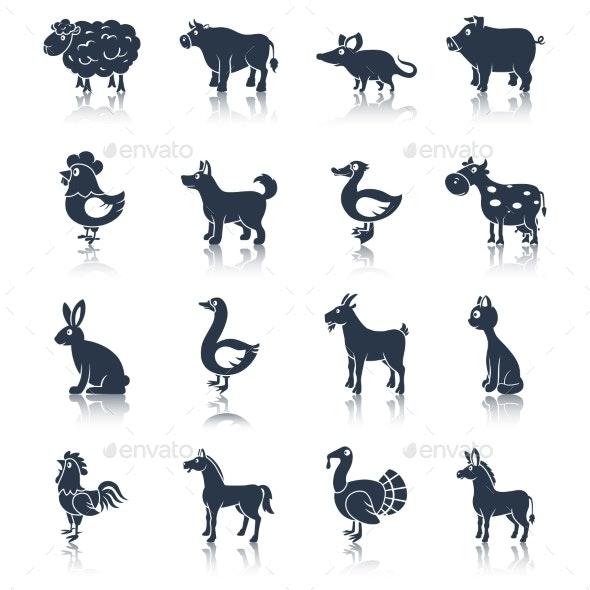 Farm animals set black - Animals Characters