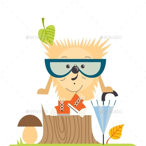 Cartoon  Hedgehog, Hipster Style - Seasons Nature