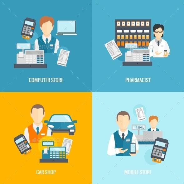 Set Icons Salesman Flat - Concepts Business