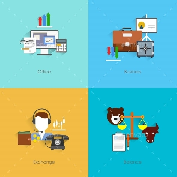 Finance Exchange Icons Flat - Concepts Business