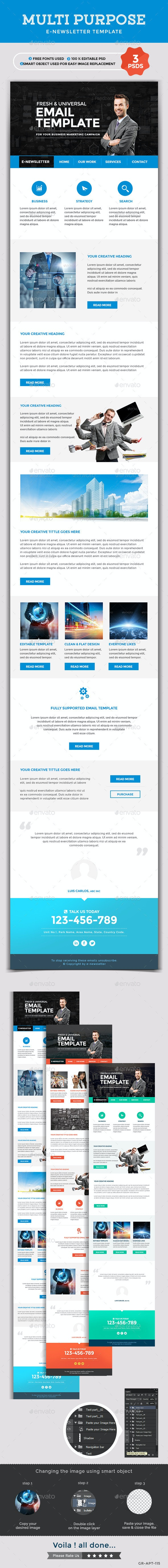 Multi Purpose Newsletter Template - 3 designs - E-newsletters Web Elements