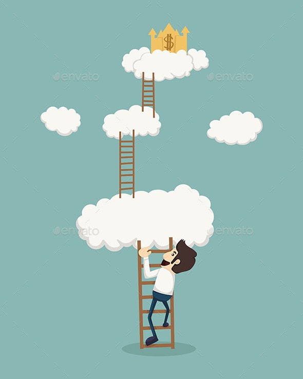 Businessman on a Ladder above the Clouds - Business Conceptual
