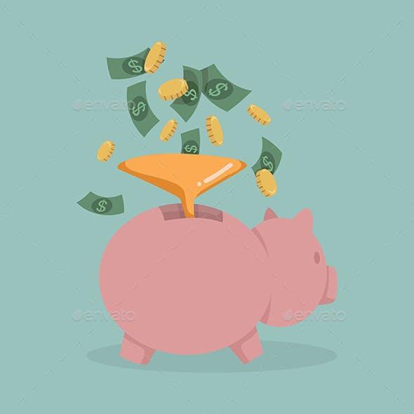 Money into a Pink Piggy Bank