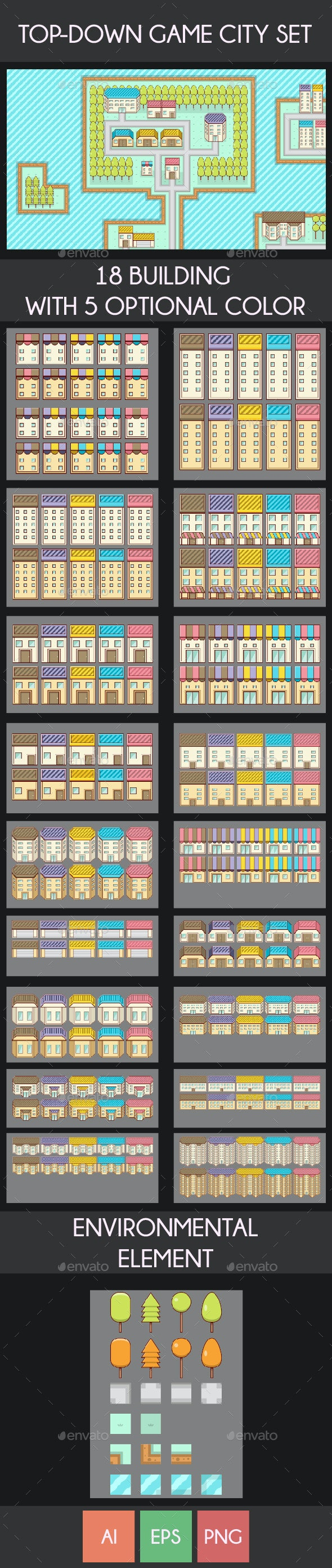 Top - Down City Game Assets - Tilesets Game Assets