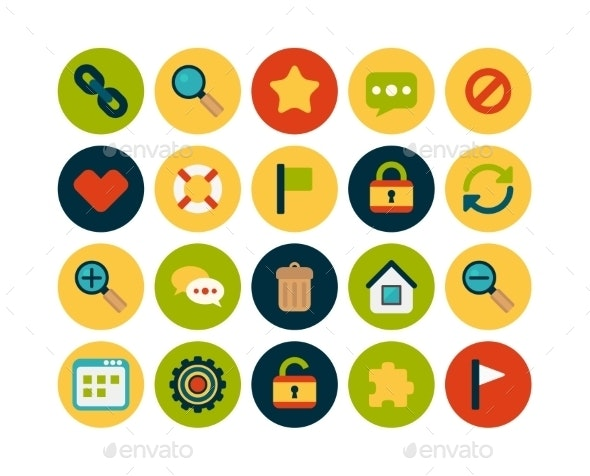 Flat Icons Set - Miscellaneous Vectors