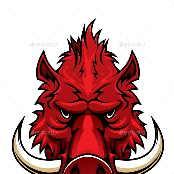 Red Boar Head Mascot