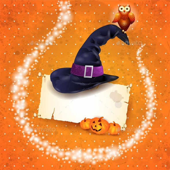 Halloween Background with Sparkles and Hat - Halloween Seasons/Holidays